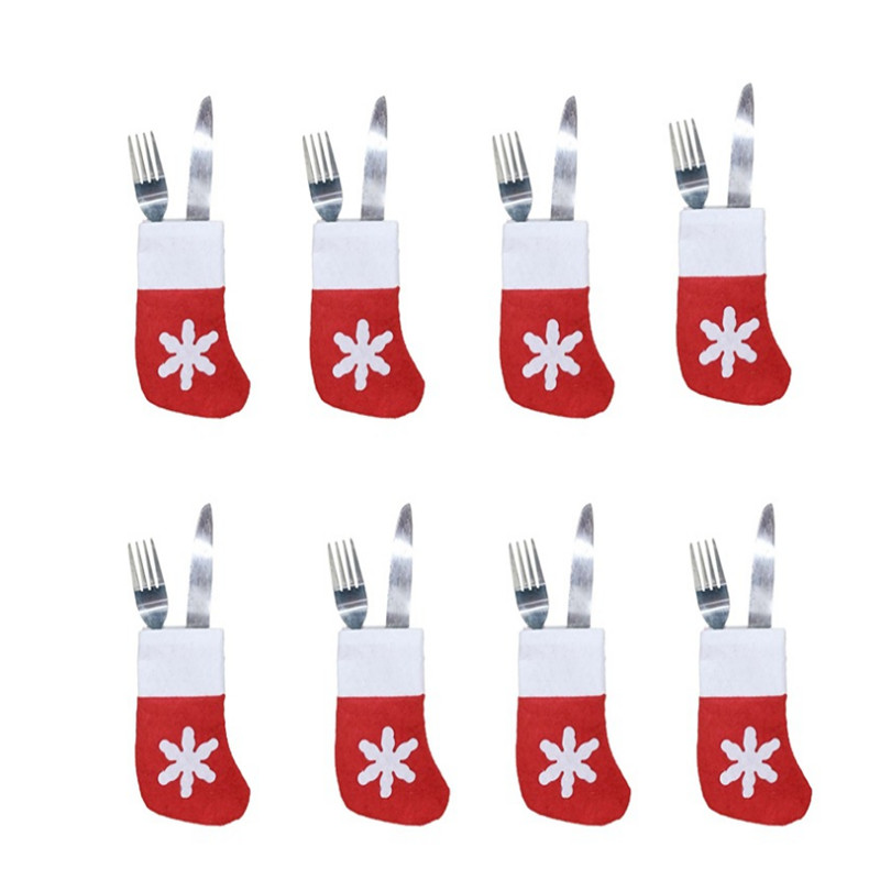 12Комаде / Торба Божићни украси Добављачи Схот Неткане посуђе Чарапе 8 * 14ЦМ Божићна забава Новогодишњи декор