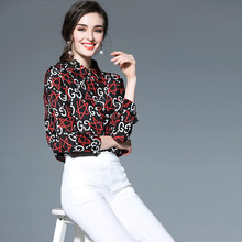2017 New Classical Spring Summer Fashion Chiffon 100% Real Silk Print Blouses Shirts D056