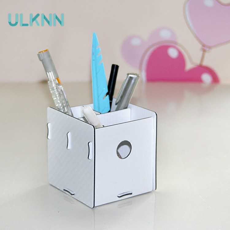 Creative DIY Fashion Pen Holder Table Organizer Student Cute Square Office Desk Storage Box for Stationery Remote Control