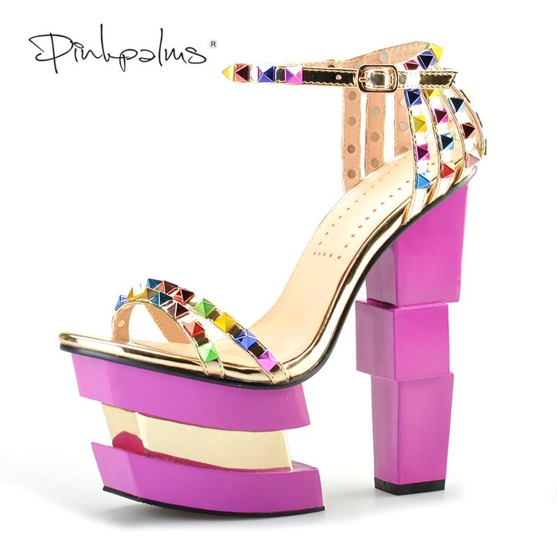 Pink Palms 2017 wanita musim panas kasut kasut tumit tinggi kasut platform tumit berwarna merah jambu warna rivet tali sandal