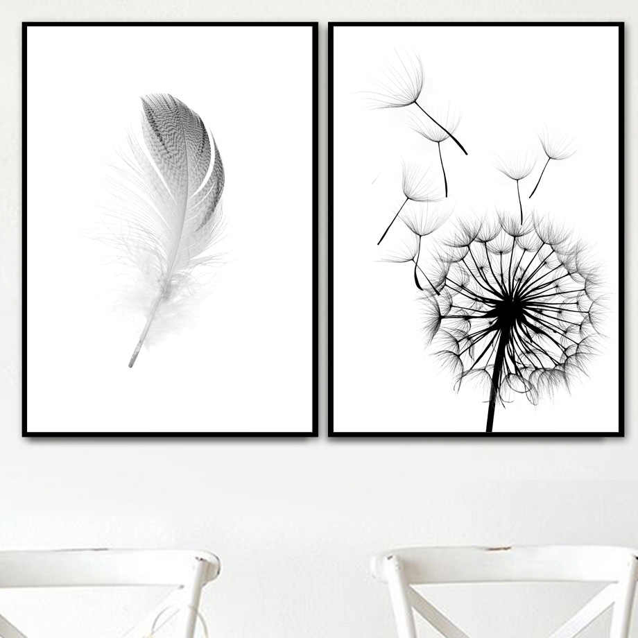 Detail Feedback Questions About Dandelion Feather Wall Art Canvas