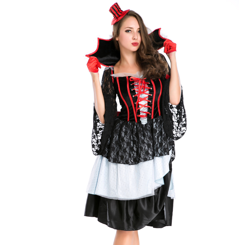 Us 40 31 23 Off New Gothic Evil Vampires Costume Sexy Adult Halloween Cosplay Lace Patchwork Fancy Dress Devil Maleficent Witch Costume A158620 In