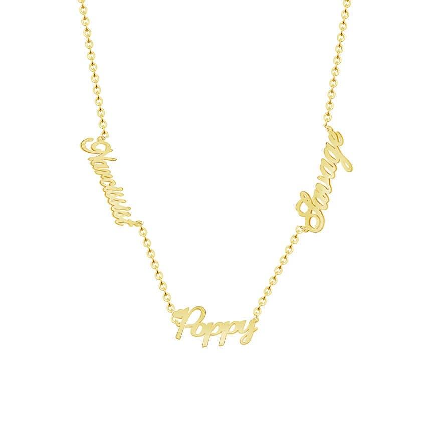 768a49e93893 Personalizado personalizado 3 Nombre Collares Mujeres Hombres Plata Oro  Rosa Personalizado Placa de Identificación Colgante Gargantilla