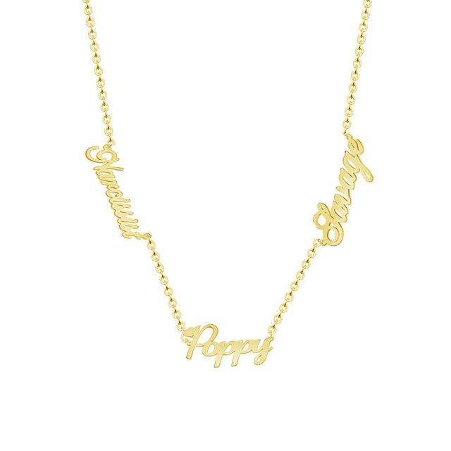 Personalized custom 3 nameplate pendant name necklaces women men personalized custom 3 nameplate pendant name necklaces women men silver gold rose customized choker necklace for aloadofball Choice Image