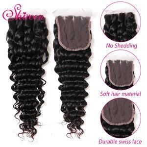 Image 3 - ברזילאי עמוק גל חבילות עם סגירת 4*4 Freepart שיער טבעי הרחבות Brazillian שיער Weave חבילות עם סגירת רמי שיער