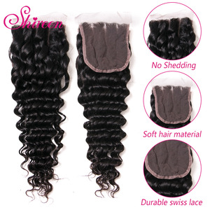 Image 3 - Brazil Sâu Sóng Bó Với Đóng Cửa 4*4 Freepart Phần Mở Rộng Tóc Người Brazillian Dệt Tóc Bó Với Đóng Cửa Remy tóc