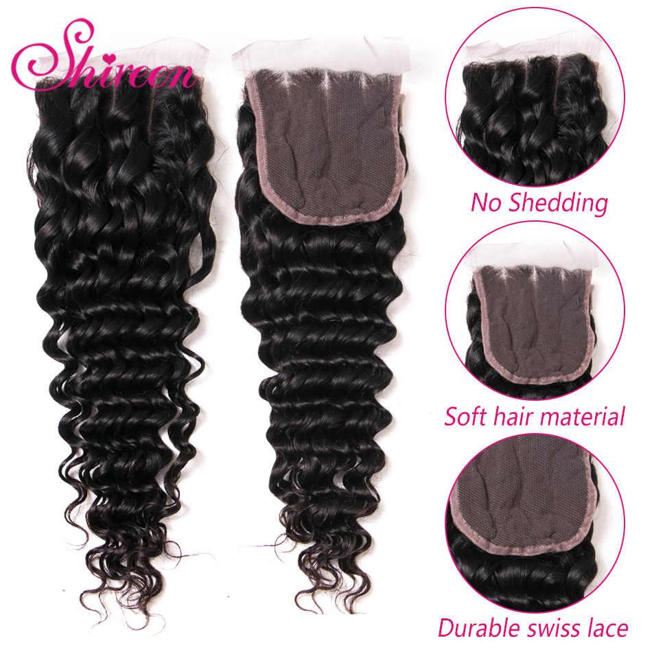 Braziliaanse Diepe Golf Bundels Met Sluiting 4*4 Freepart Menselijk Hair Extensions Braziliaanse Haar Weefsel Bundels Met Sluiting Remy haar