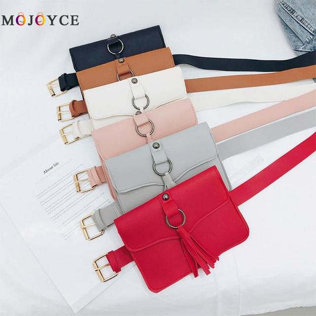 19 X 13 X 1 cm Women Tassels Cover Waist Bag Adjustable PU Leather Belt Bag Girls Envelope Fanny Pack Heuptas Pochete