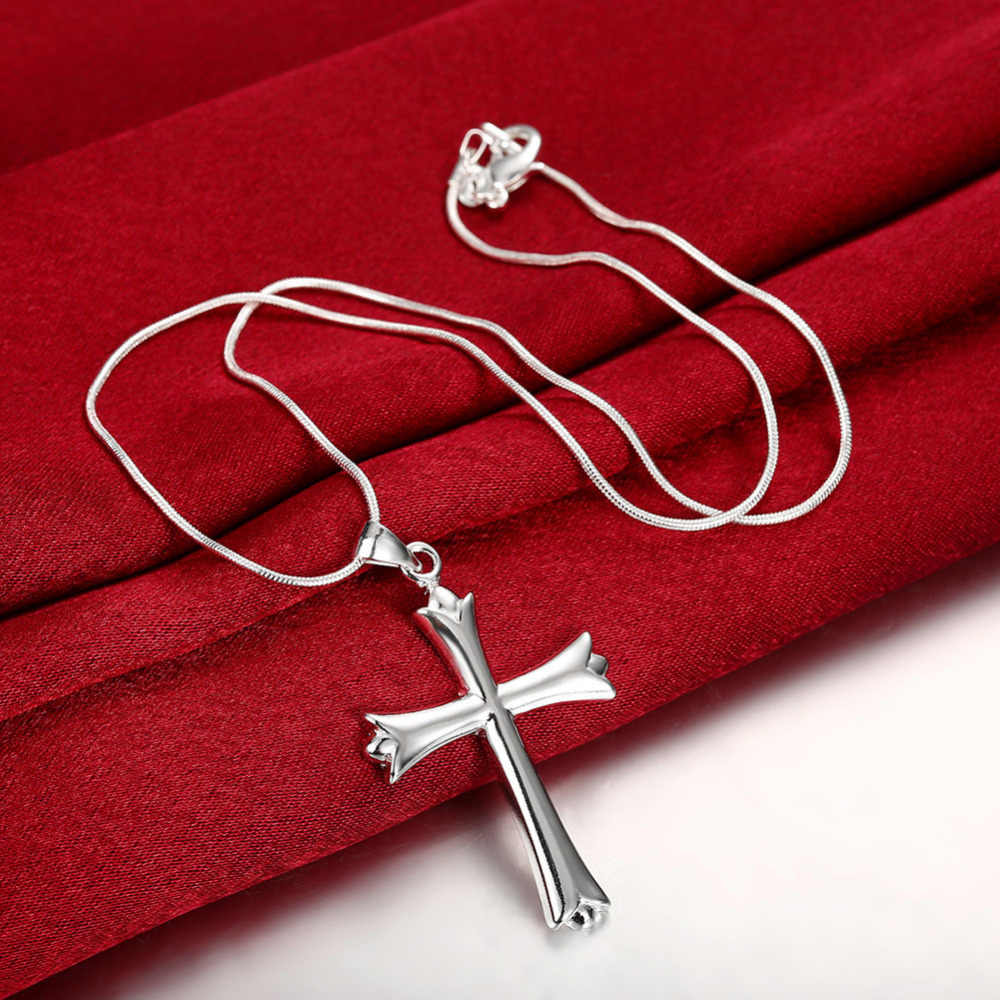 Men's silver jewelry 925 silver pendant necklace smooth smiple cross pendant for men's women gift wholesale classic jewelry
