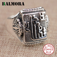BALMORA 100 Real 925 Sterling Silver Buddhist Luxury Rings For Women Men Thai Silver Ring High