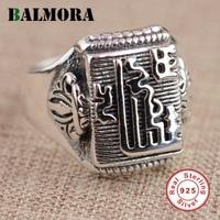 BALMORA 100 Real 925 Sterling Silver Buddhist Luxury Rings For Women Men Thai Silver Ring High