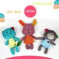 Rabbit Bear Cat Baby Plush Hand Grasp Toys Infant Rattle Crib Bed Hanging Animal Toy Multifunction Dolls