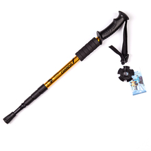 Outdoor 4 Sections Aluminum Walking Stick Straight Grip Handle Rubber Anti Shock Trekking Poles For Adult or Children