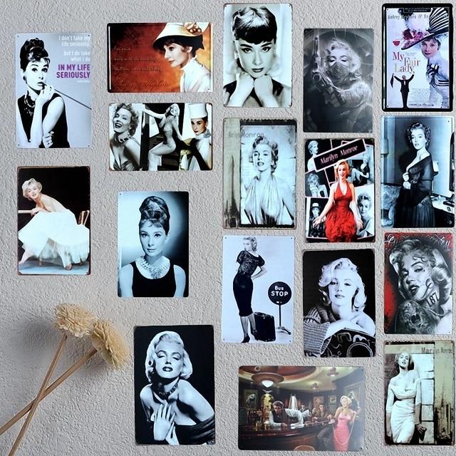 marilyn monroe and hepburn portraits 20x30 cm mix items retro metal