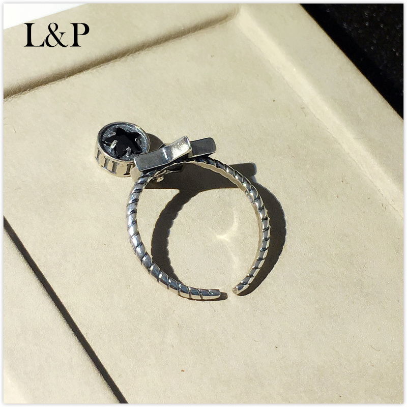 L&P 925 Sterling Silver Mix Macth Rings For Women Classic Black Star Rings Fashion Punk Style Brand Fine