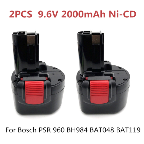 Elétricas para Bosch Pces 2000 Mah Ni-cd Bateria Recarregável Ferramentas Psr 960 Bh984 Bat119 2 Bat048 9.6 v