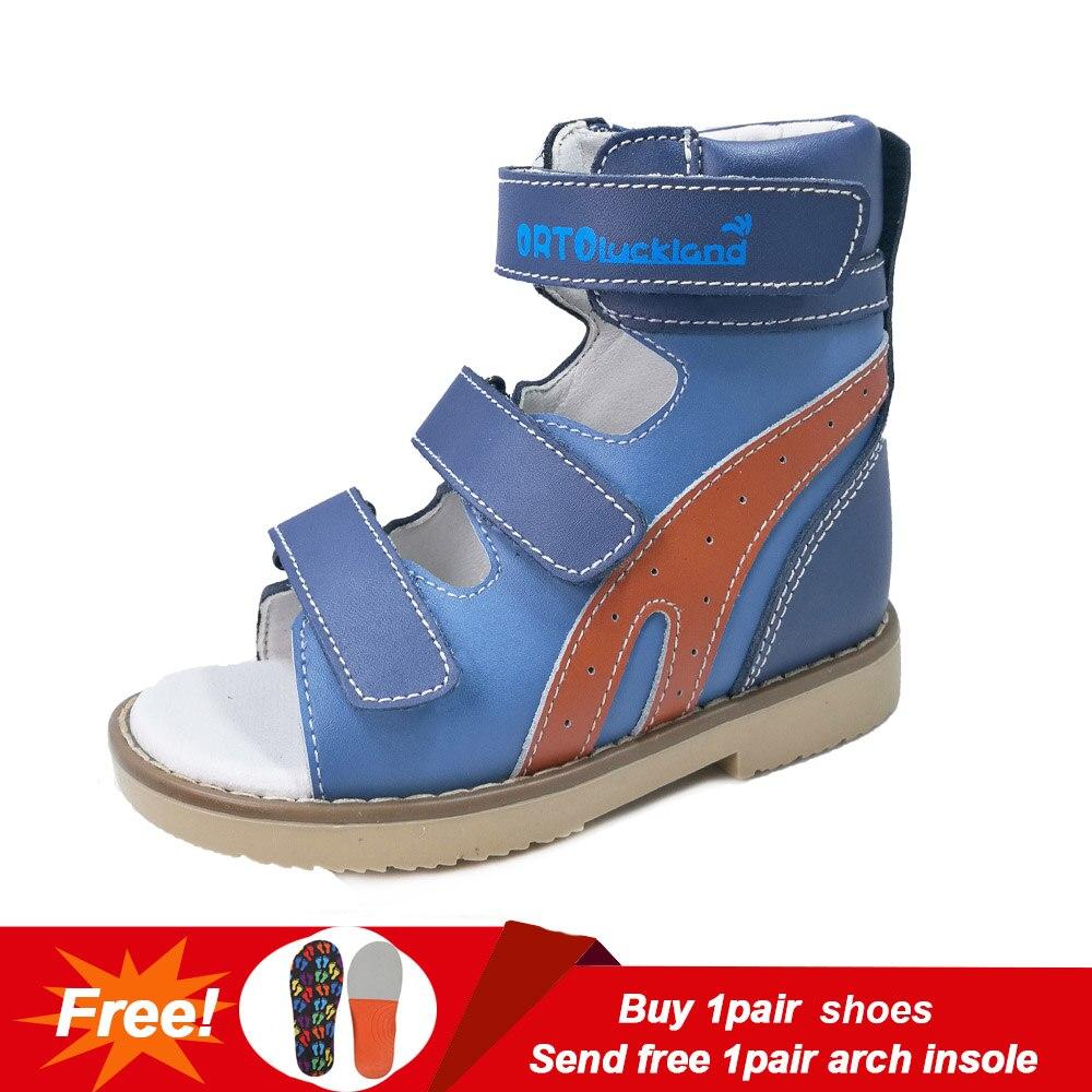 Enfant en bas âge Cool Bleu et Orange Orthopédique En Cuir Véritable Sandales Pour Enfants Enfants Haute Cheville Chaussures de Pied Plat