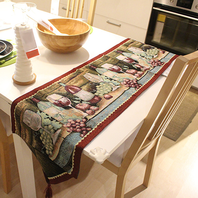 Christmas Table Runner.Us 25 45 33x180cm Luxury Grape And Wine Red Jacquard Table Runner Home Christmas Table Decoration With Tassel Table Runner Cloth In Table Runners