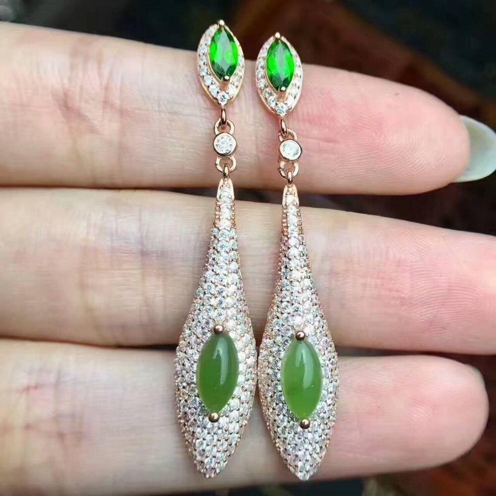Boucles d'oreilles goutte de jaspe vert naturel 925 boucles d'oreilles diopside vert naturel goutte d'eau mince femmes cadeau bijoux