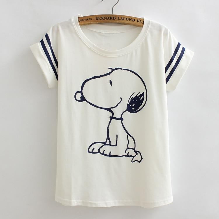 2018 style d'été nouvelles femmes tops col rond manches courtes t chemise femelle mignon chien coton t-shirt femmes lâche occasionnel t-shirts