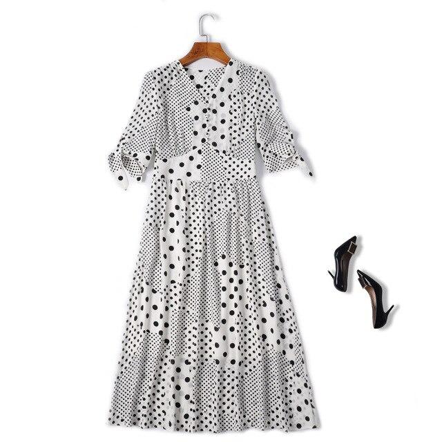 High Quality Chiffon Dress Korean Style Women V-Neck Polka Dot  Print Bow Tie Sleeve Mid-Calf Length Casual Dress Streetwear
