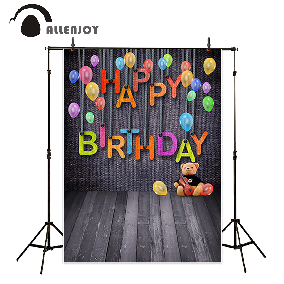 Allenjoy Birthday Celebration backdrop Black Balloon Cowboy birthday backgrounds for photo studio new arrival Personal customize new arrival background fundo hydrant balloon flowers 600cm 300cm width backgrounds lk 2982