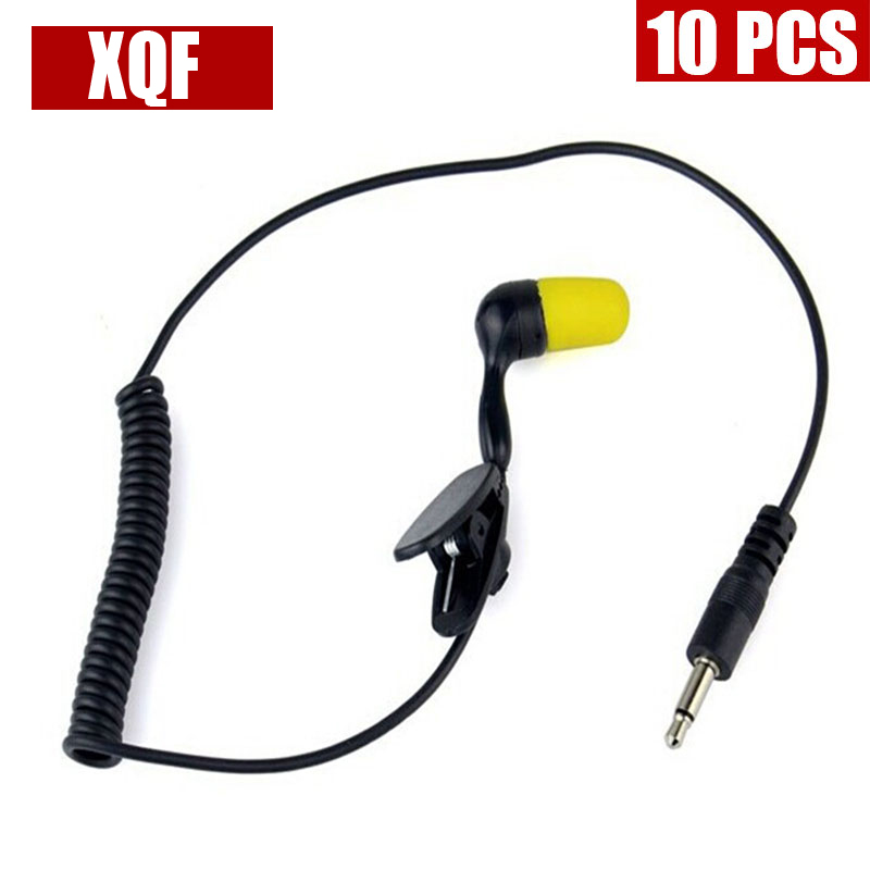 XQF 10PCS 3.5mm 1Pin Listen Only Earpiece Coiled Cord For Radio Mic Speaker