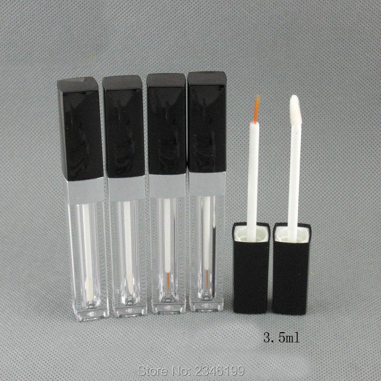3.5ml 50pcs / lot Tom plast eyeliner tube med svart lue, DIY Square - Hudpleieverktøy