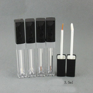 3.5ML 50pcs/lot Empty Plastic Eyeliner Tube with Black Cap, DIY Square Lip Gloss Tube, Top Quality Cosmetic Packing Container