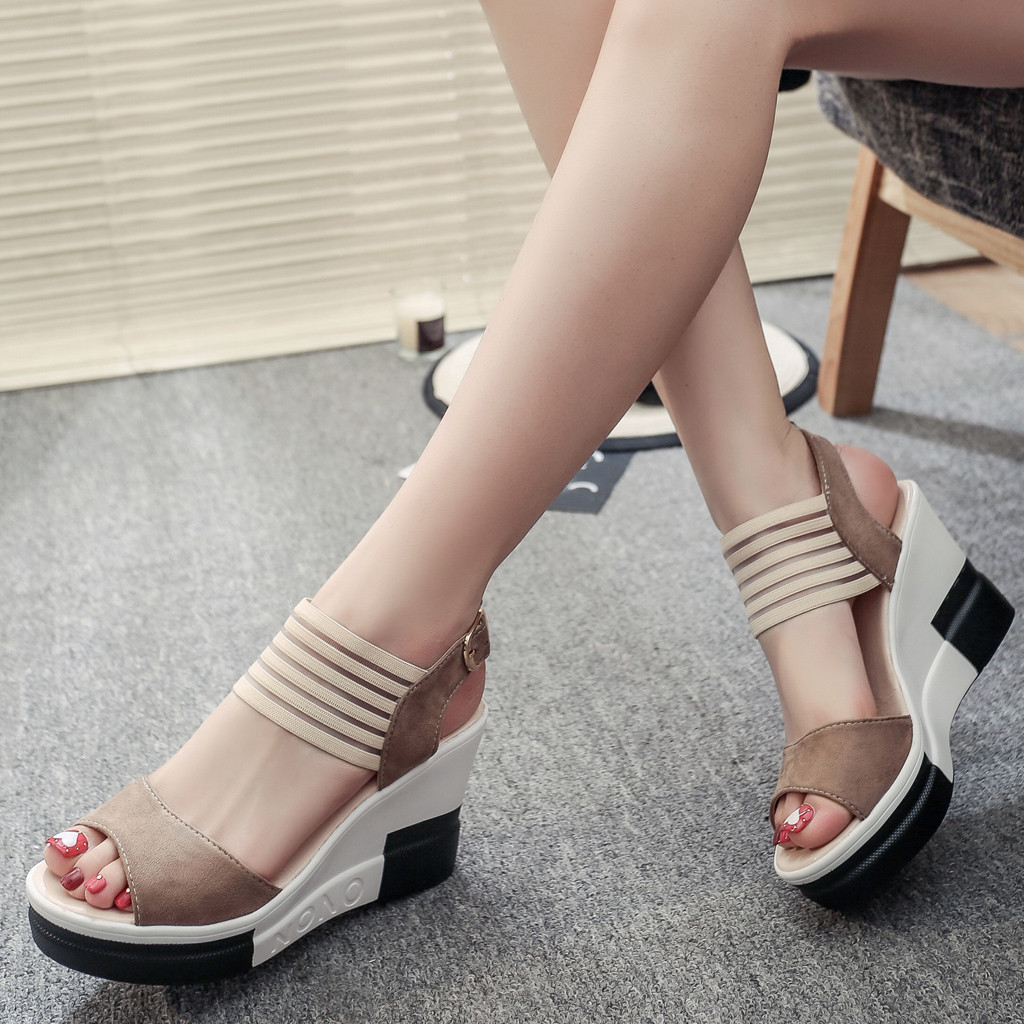 Womens High Heel Shoes Buckle Fish Mouth Sandals Cross Belt Casual Dress Shoes