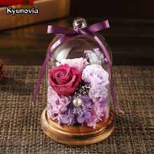 Kyunovia Real Rose in glass Preserved Eternal Flower Valentine Special Romantic Gift Birthday Party Home Decoration KY101