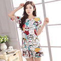 two piece set 2016 fashion Leisure time printing Cartoon image Easy Comfortable 2 piece set women harajuku shorts t shirt women
