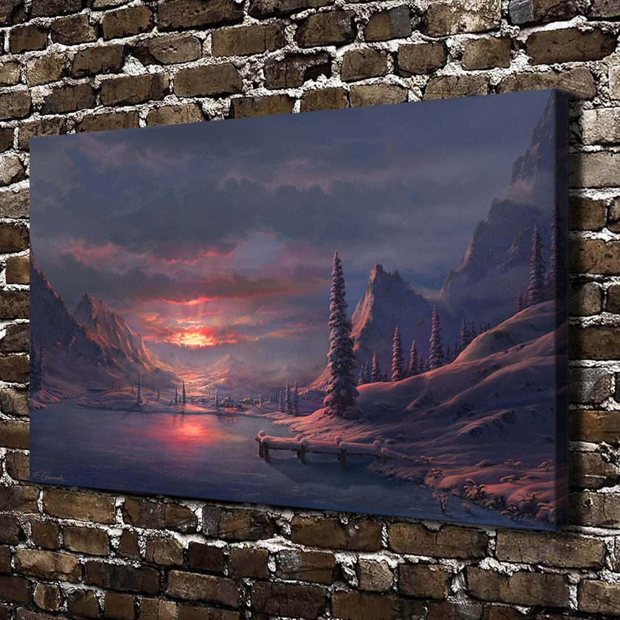 A818 Art Winter Mountain Lake Sunrise Landscape,HD Canvas Print Home decoration Art painting Living Room Bedroom Wall pictures