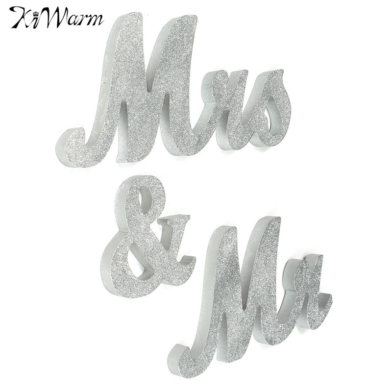 cute large wooden mr mrs silver shining letters sign wedding top table decor gift for