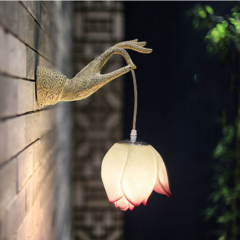 Modern Chinese Lotus Wall Lamp Creative Art Hallway Corridor Left Right Hands Lamp Decoration Bra Teahouse Courtyard Wall Light