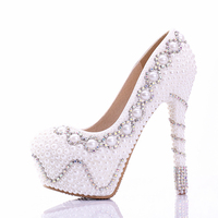 2016 Gorgeous White Pearl Wedding Party Shoes Popular Colorful Bridal Dress Shoes High Heel Women Prom Pumps Free Shipping