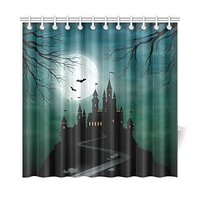 Full Moon Night Home Decor Halloween Haunted Castle Polyester Fabric Shower Curtain Bathroom Sets With Hooks