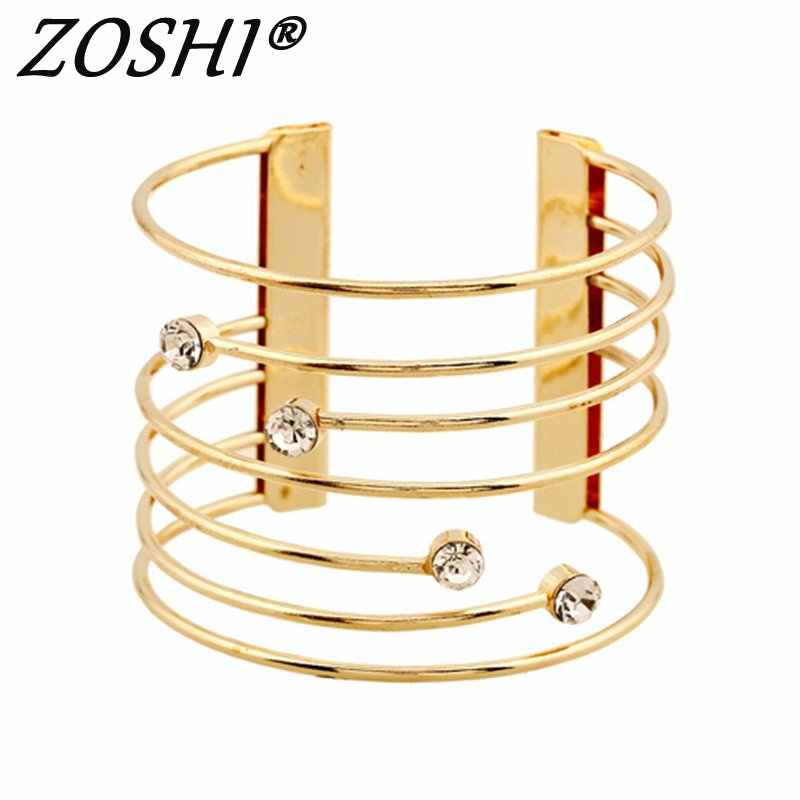 Bangle For Women Gold/Silver Charm Bracelet Wedding Party Jewelry Alloy Luxury Crystal Wide Cuff Bangle Bracelet 2017 Female