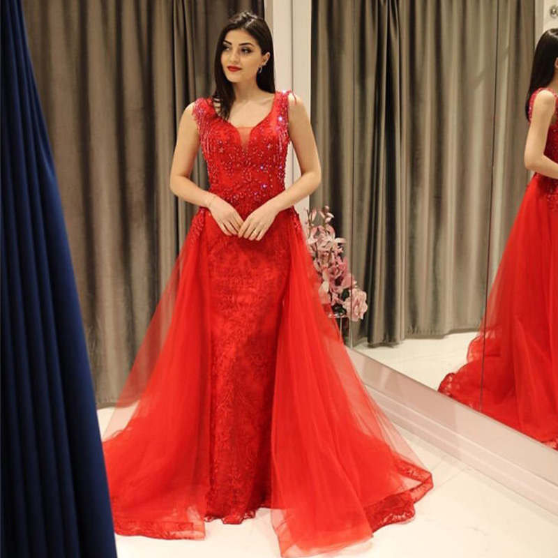 Elegant Mermaid   Prom     Dresses   V-neck Beaded Tassel Sleeveless Lace Appliques Red   Prom   Gowns 2019 Women Formal Party   Dresses