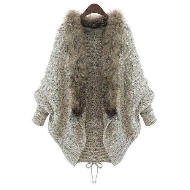 2016 Autumn Winter New Fashion Womens Loose Fur Collar Sweater Lady Batwing Sleeve Knit Cardigan Female Warmmer Knit Coat Nov21
