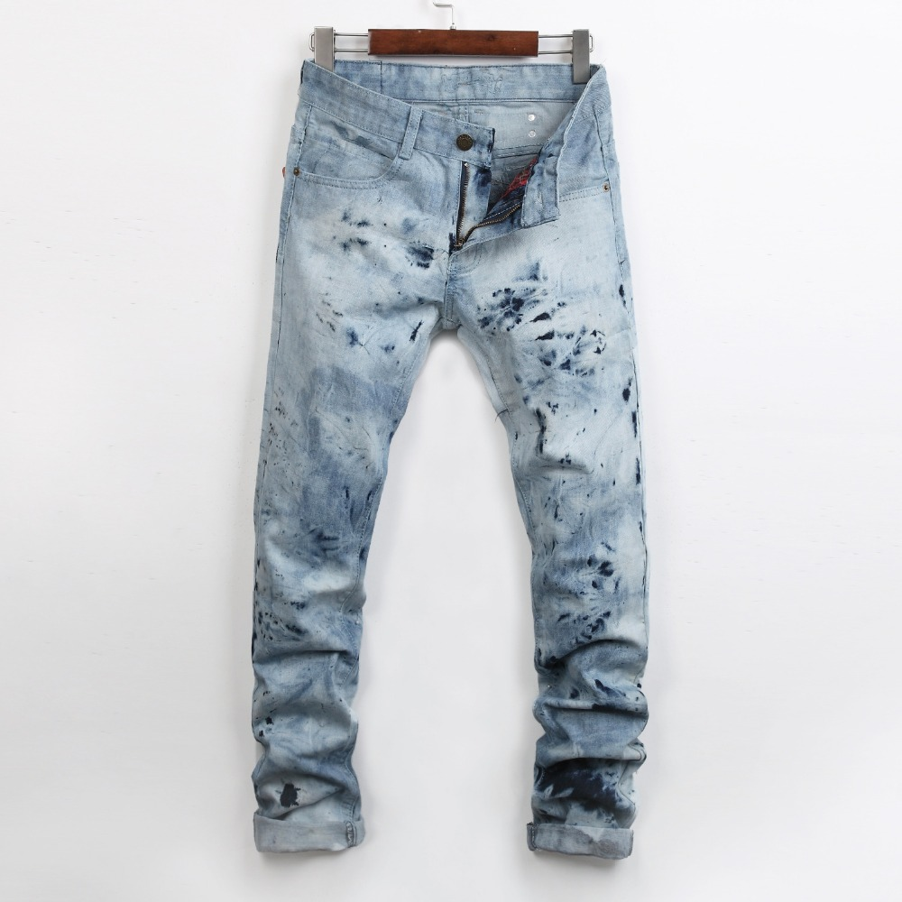 2016 new mens locomotive jeans Hot nail fashion snow jeans Men s casual Denim Jeans Skinny