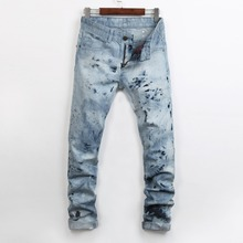 2016 new mens locomotive jeans Hot nail  fashion snow jeans Men's casual Denim Jeans Skinny Pencil Pants hiphop jeans 28-38
