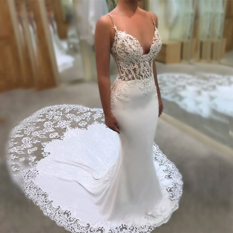 Spaghetti Strap Lace Mermaid Wedding Gowns: Glamorous Spaghetti Strap Wedding Gowns 2019 Lace Mermaid