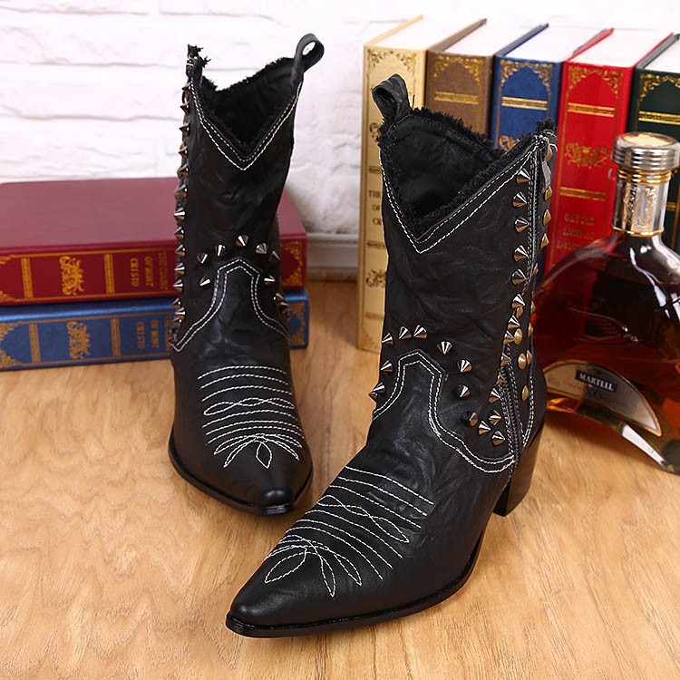 Size 38 46 Handmade Leather Boots Man Handsome Cowboy Boots Black with Rivets Pionted Toe Motorcycle
