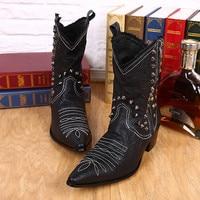 Размеры 38–46 Кожаные ботинки ручной работы человек красивый ковбойские ботинки черный с заклепками с острым носком мотоботы человек круто