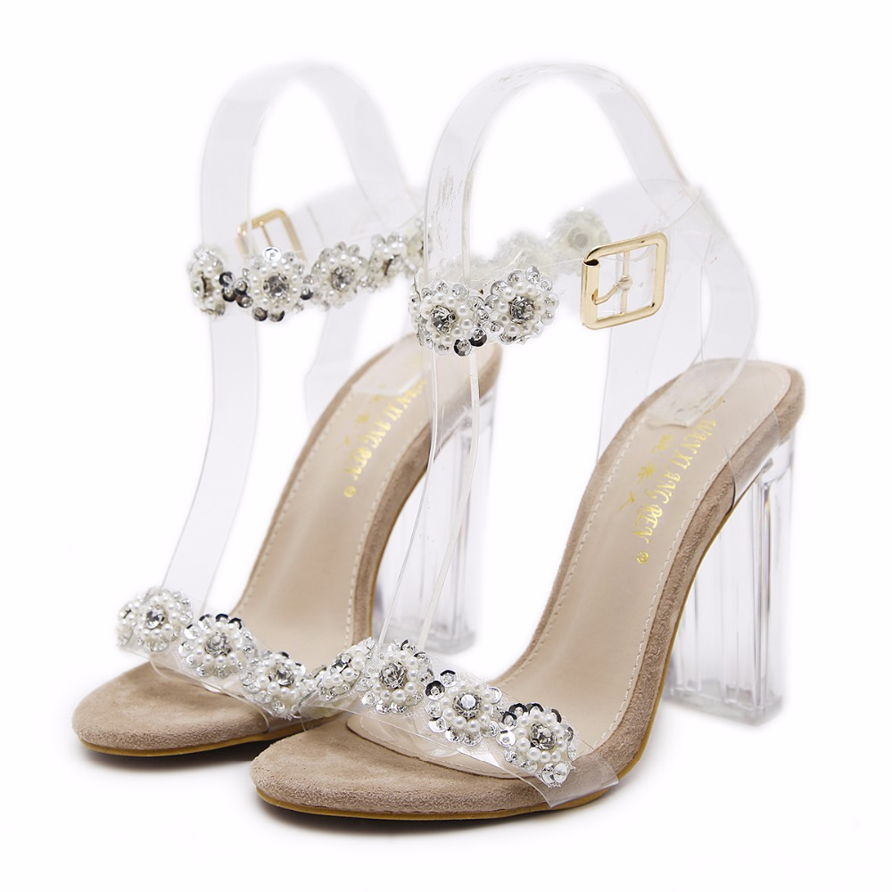 Summer new style transparencies crystal sandals rhinestone word buckle with thick with high-heeled shoes. pu line style buckle rhinestone nice womens sandals
