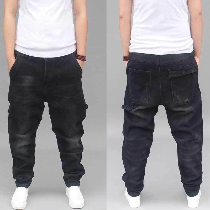 Fashion Loose Baggy Harem Denim Jeans Men Casual Taper Cargo Pants Streetwear Elastic Black Trousers Male Clothes