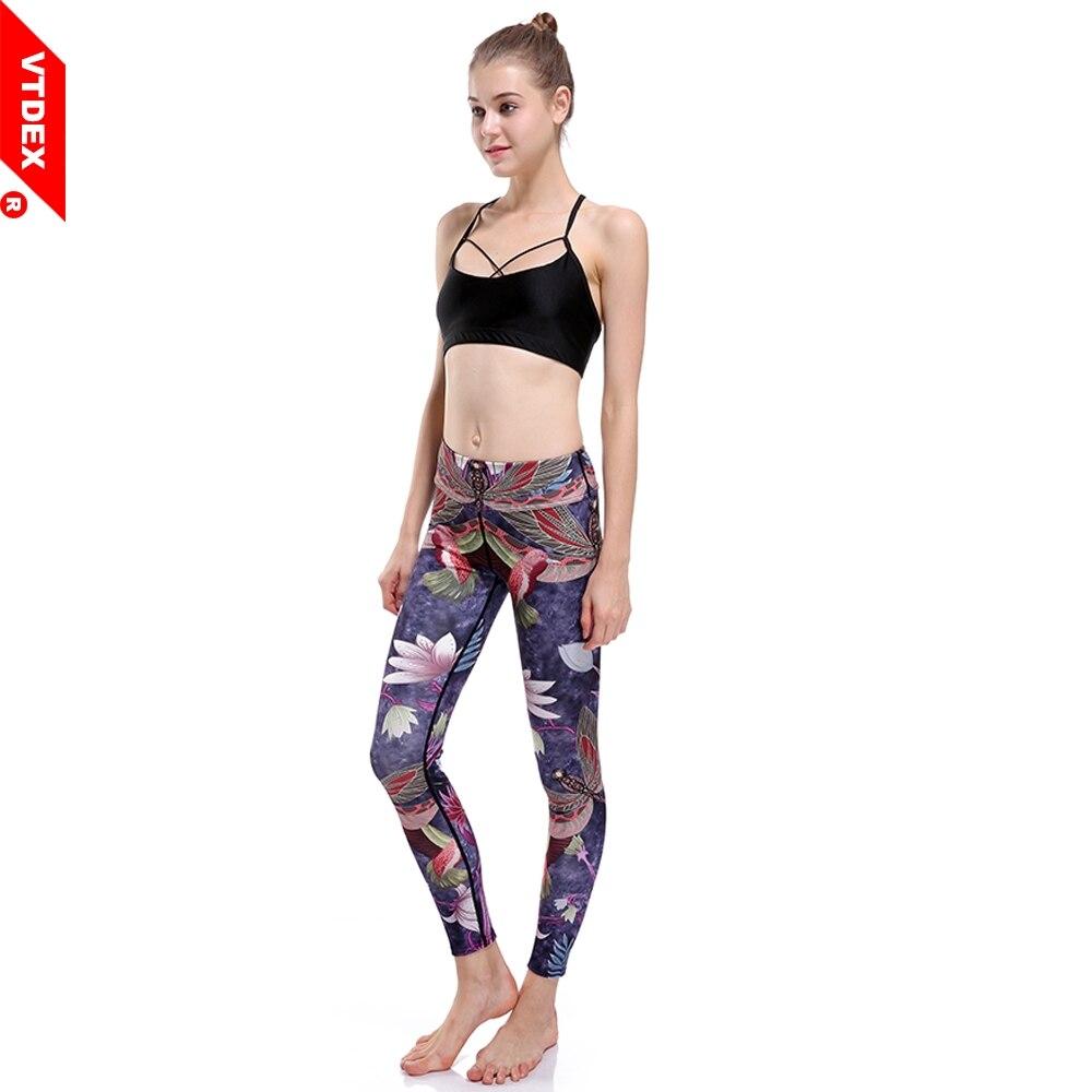 VTDEX Women Yoga Pants 2017 New Lotus & Hummingbird Printed Elastic Fitness Sports Leggings Plus Size Running Tights Girl