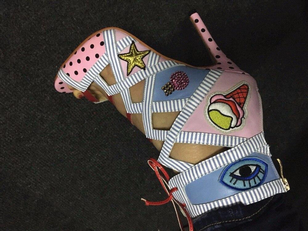 Dentelle Robe Dessinée Haute D'été Doux Caractéristiques Femmes Chaussures Multicolore Arrivée Up De Gladiateur Bande Sandale Talon Nouvelle Sandales 2017 FqW7vZII