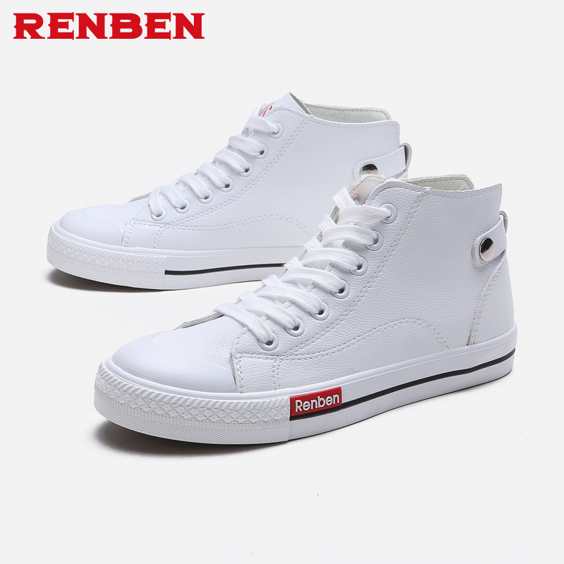 2019 Femmes Occasionnels Chaussures Plate-Forme Sneakers PU En Cuir Chaussures Femme Respirant High Top Blanc Chaussures